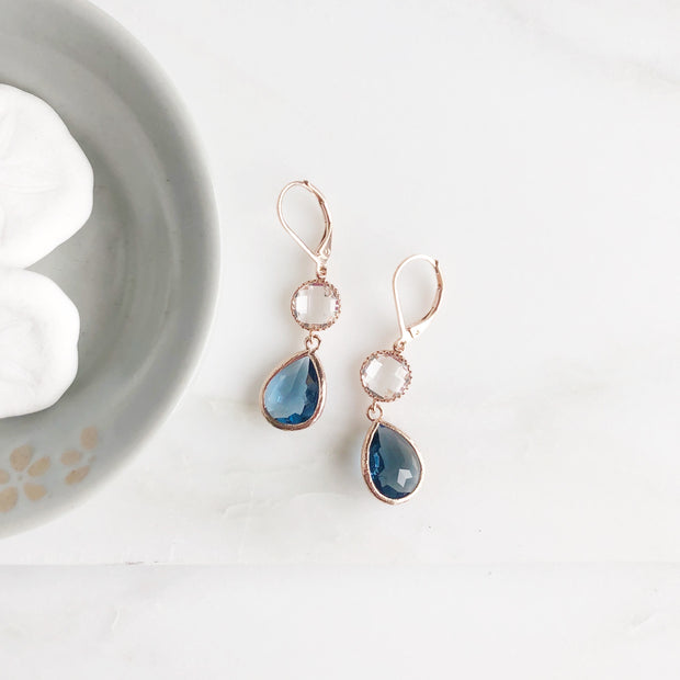 Rose Gold Earrings with Clear and Sapphire Blue Dangle Earrings. Glass Stone Bridal Earrings