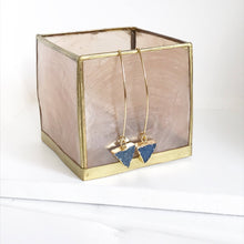 Load image into Gallery viewer, Druzy Triangle Hoop Earrings. Blue Triangle Druzy Dangles. Gold Druzy Earrings. Gift.