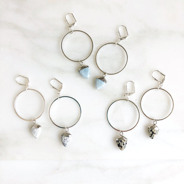 Silver Hoop Earrings with Gemstone Shield Pendants