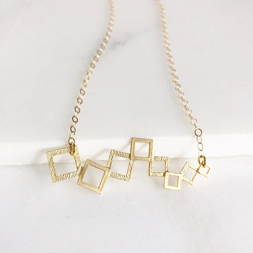 Geometric Square Gold Bar Necklace. Everyday Gold Bar Triangle Pendant Necklace. Statement Gold Bar Necklace. Layering Necklace.