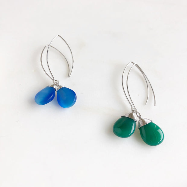 Silver Stone Drop Earrings. Dangle Earrings. Long Stone Drop Earrings. Blue and Green Earrings.