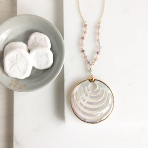 Mother of Pearl Crescent Medallion Necklace. Strawberry Quartz and Amazonite. Long Gold Necklace. Gifts for Her. One of a kind.