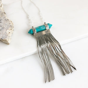 Long Silver Chain Tassel Necklace with Turquoise Stone and Beaded Chain. Long Silver Tassel Necklace. Tassel Jewelry. Long Necklace. Gift.