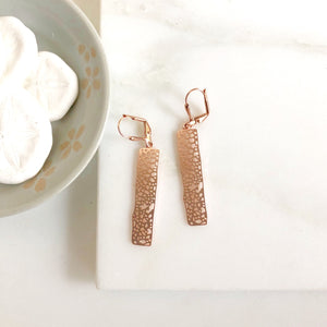 Small Rose Gold Rectangle Earrings. Drop Earrings. Dangle. Geometric. Simple Earrings.