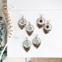 Load image into Gallery viewer, Amethyst Aqua and Sapphire Chandelier Earrings. Dangle Earrings. Statement Earrings.