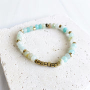 Amazonite Stretch Bracelet with Brass Accents. Aqua Stone Beaded Bracelet. Boho Chic Jewelry