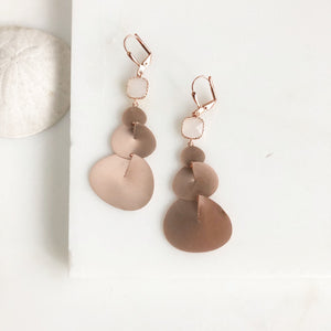 Rose Gold Statement Earrings with Smoky White Stones