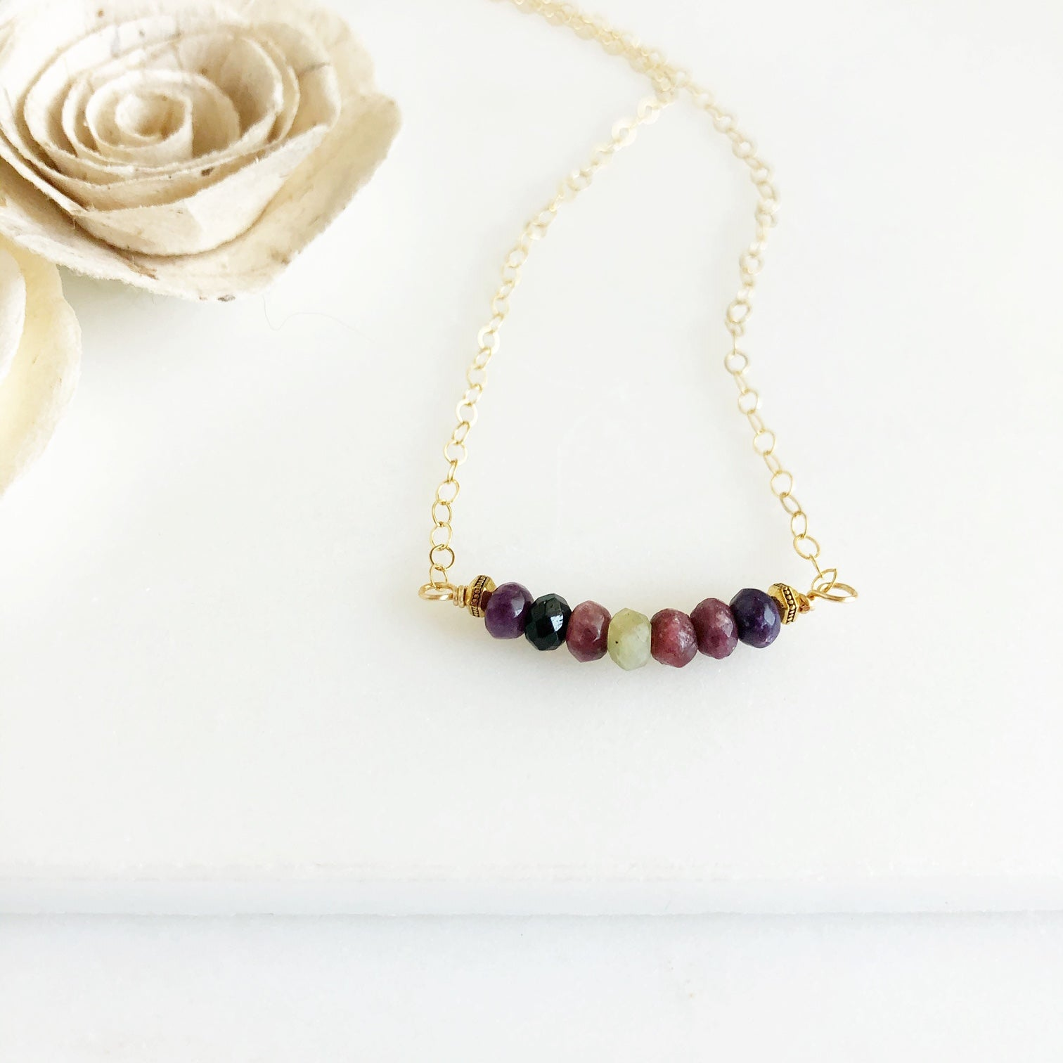 Beaded Bar Necklace. Tourmaline Beaded Bar Necklace. Beaded Necklace. Bar Necklace. Gold Necklace.
