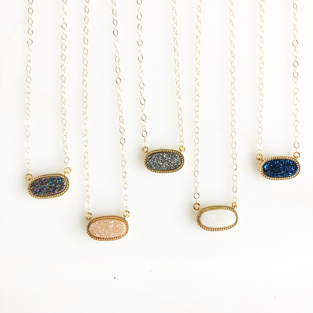 Delicate Druzy Necklace in Gold. Dainty Druzy Necklace. Jewelry Gift. Necklace.