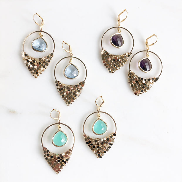 Amethyst Aqua and Sapphire Chandelier Earrings. Dangle Statement Earrings