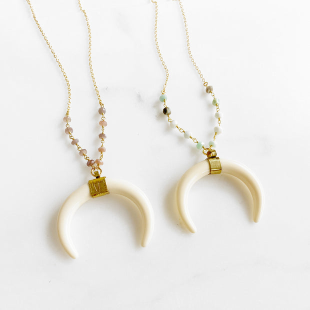 Long Cream Crescent Necklace in Gold with Amazonite or Brown Moonstone Beading. Long Beaded Gold Necklace