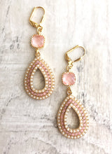 Load image into Gallery viewer, Pink and Pearl Chandelier Earrings in Gold. Summer Statement Earrings. Dangle Earrings. Wedding Jewelry. Beach Earrings. Gift.