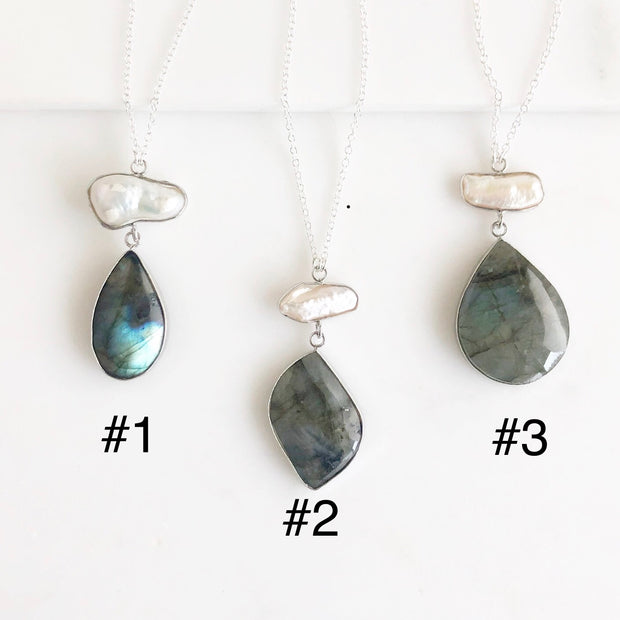 Long Labradorite and Mother of Pearl Pendant Necklace in Sterling Silver. Long Silver Necklace.