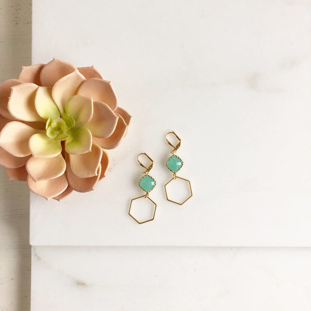 Gold Hexagon and Aqua Dangle Earrings.