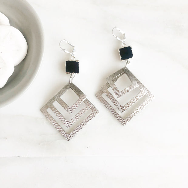 Multiple Square Statement Earrings with Black Onyx Connectors