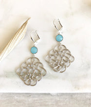 Load image into Gallery viewer, Celtic Pendant Statement Earrings with Sky Blue Jewels. Dangle Earrings. Blue Earings.