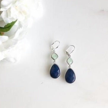 Navy Blue and Mint Jewel Gem Earrings in Silver. Dangle Drop Earrings