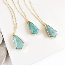 Load image into Gallery viewer, Amazonite Shield Necklace. Blue Stone Pendant Necklace. Stone Jewelry. Gift.