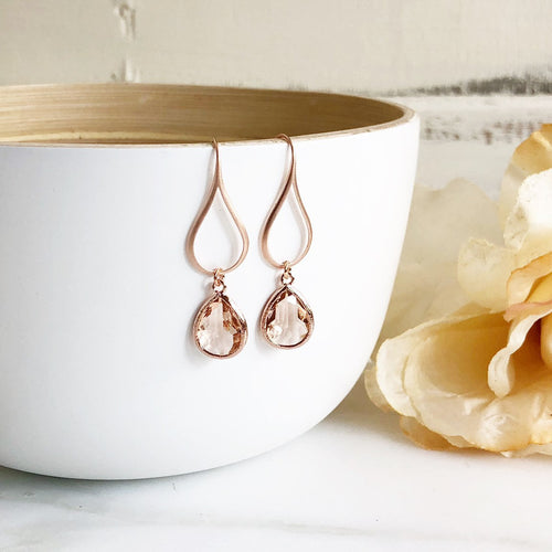 Rose Gold Champagne Drop Earrings. Champagne Teardrop Drop Earrings. Gift for Her. Dangle Earrings. Modern Drop Earrings. Christmas Gift.