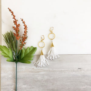 Long White Beaded Tassel Earrings in Gold. Gold Tassel Earrings. White Tassel. Statement Earrings.