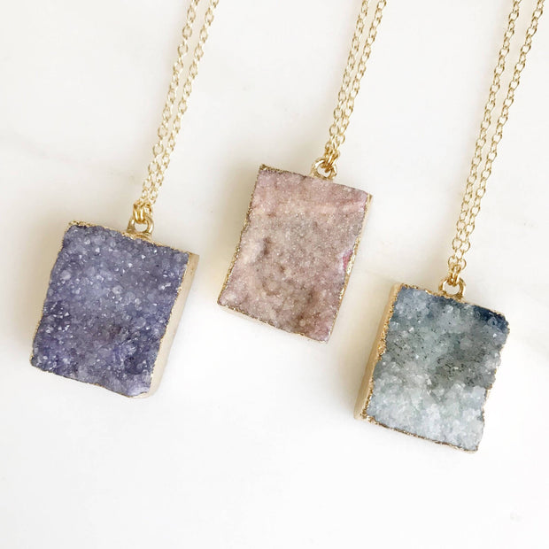 Raw Stone Jewelry. Crystal Druzy Necklace. Geode Necklace. Druzy Jewelry. Stone Necklace. Peach Blue Purple Gold Necklace. Chunky Necklace.