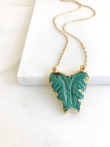 Teal Butterfly Pendant Necklace in Gold. Layering Necklace. Jewelry Gift for Her.