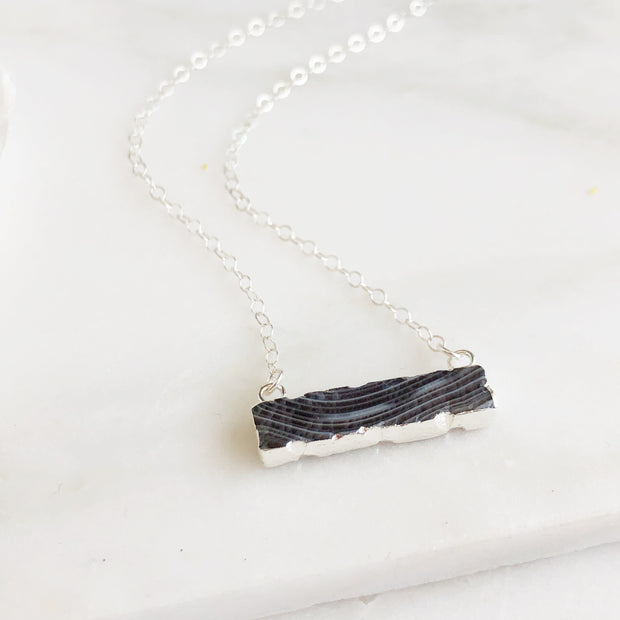Grey Agate Bar Necklace in Sterling Silver. Black White Swirl Stone in Silver. Silver Bar Necklace.
