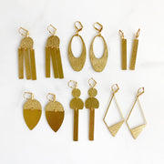 Geometric Brushed Brass Statement Earrings in Gold. Brass Gold Minimal Shape Earrings