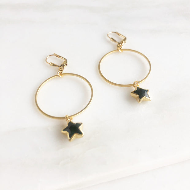 Star Hoop Earrings in Gold. Hoop Dangle Gemstone Earrings