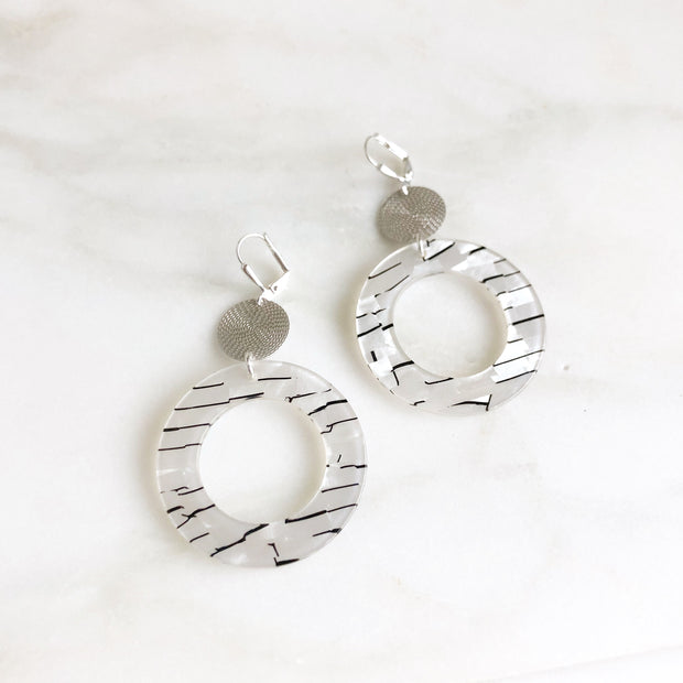 Silver Acrylic Hoop Earrings. Black Swirl Acetate Pendants