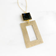 Long Geometric Necklace in Gold with Labradorite Stone. Gold Black Statement Necklace