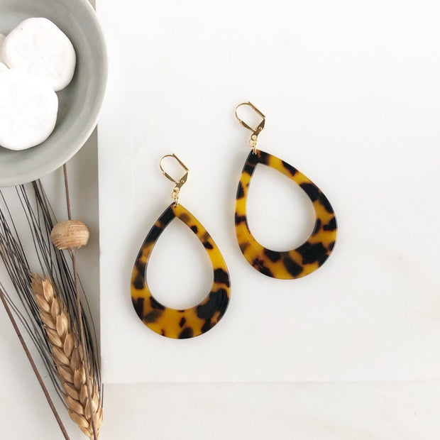 Large Teardrop Tortoise Open Teardrop Earrings. Large Teardrop Earrings Acrylic Statement Earrings.