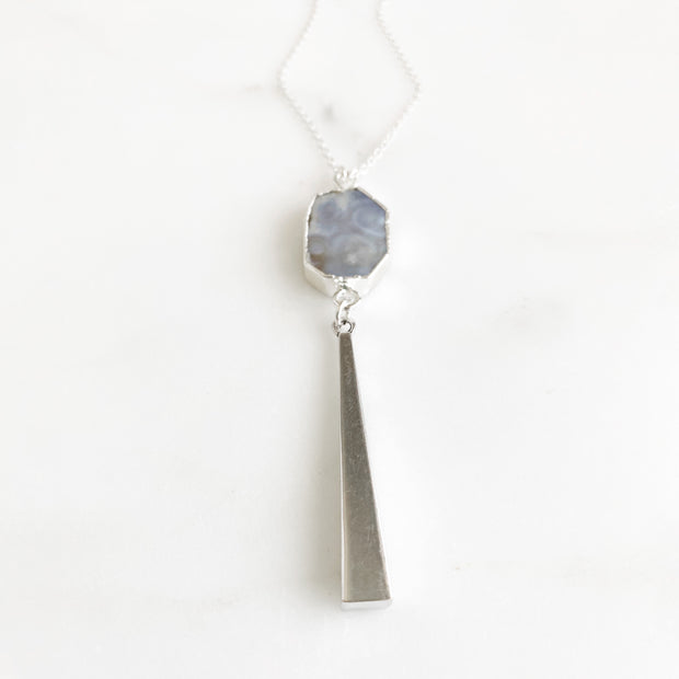 Long Jasper Stone Necklace in Sterling Silver. Silver Pendant Necklace
