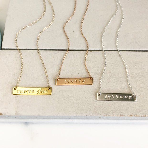 Personalized Necklace. Personalized Bar Necklace. Hand Stamped Bar Necklace. Jewlery Gift. Silver or Gold or Rose Gold Bar Necklace. Jewelry