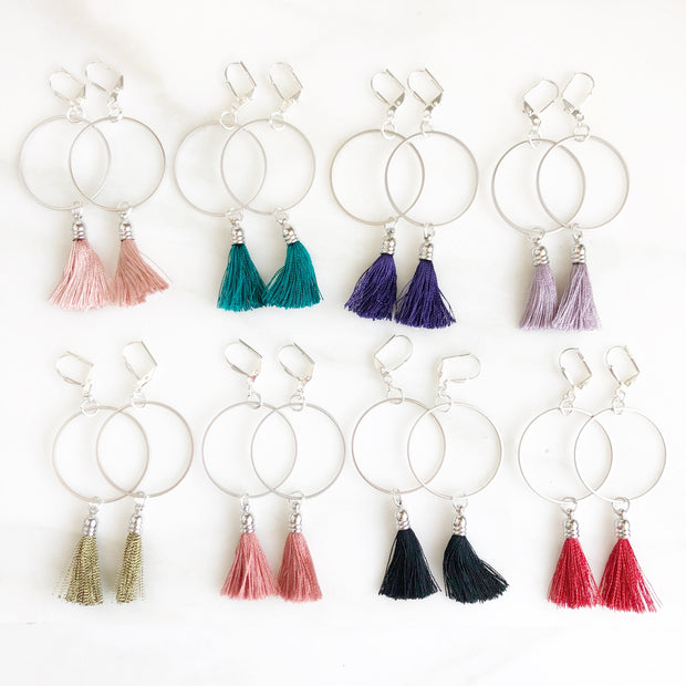 Tassel Hoop Earrings in Silver. Silver Hoop Earrings