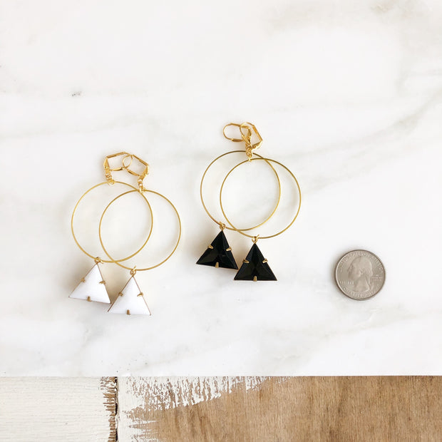 Large Hoop Statement Earrings. Triangle Hoop Earrings. Gold Hoop Earrings. Gold Statement Earrings.