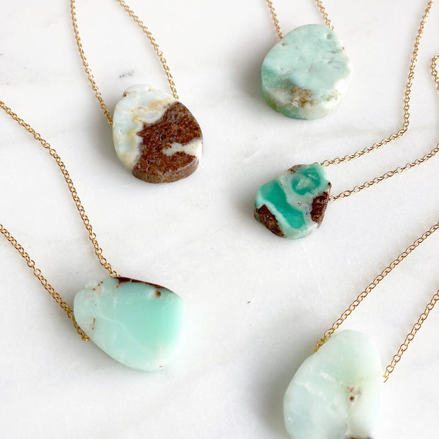 Floating Stone Necklace in Gold. Chrysoprase Stone Necklace. Australian Jade Necklace