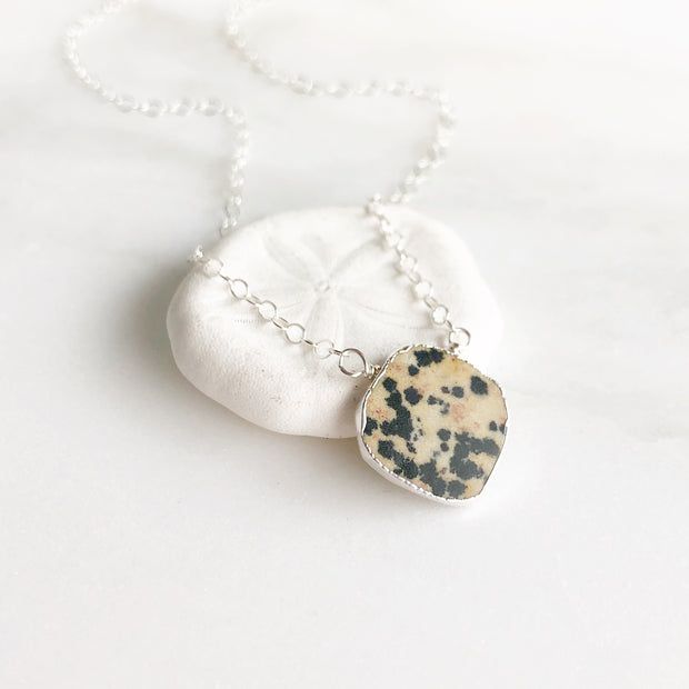 Dalmation Jasper Gemstone Slice Pendant Necklace in Silver. Layering Stone Necklace. Holiday Gift.