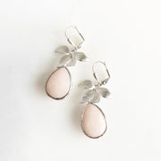 Simple Earrings with Pale Peach Stone and Silver Flowers