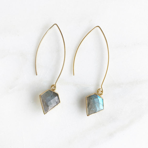 Labradorite Drop Earrings. Long Edgy Stone Drop Earrings with Diamond Shaped Stones in Gold