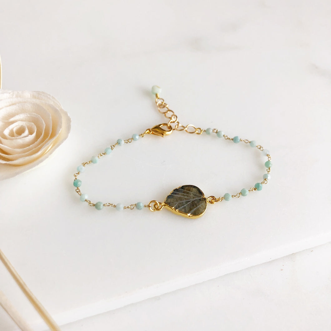 Carved Labradorite Leaf Bracelet and Amazonite Beading in Gold.