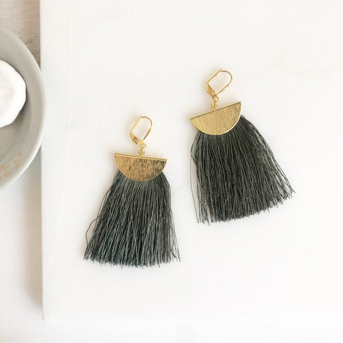 Grey Green Tassel Earrings. Chandelier Earrings. Tassel Dangle Earrings. Statement Earrings. Gold Tassel Earrings. Christmas Gift.