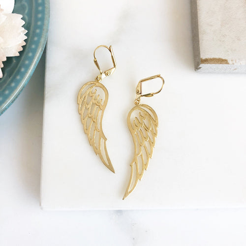 Wing Earrings. Gold Wing Earrings. Angel Wing Earrings. Dangle Earrings. Drop Earrings. Jewelry Gift.