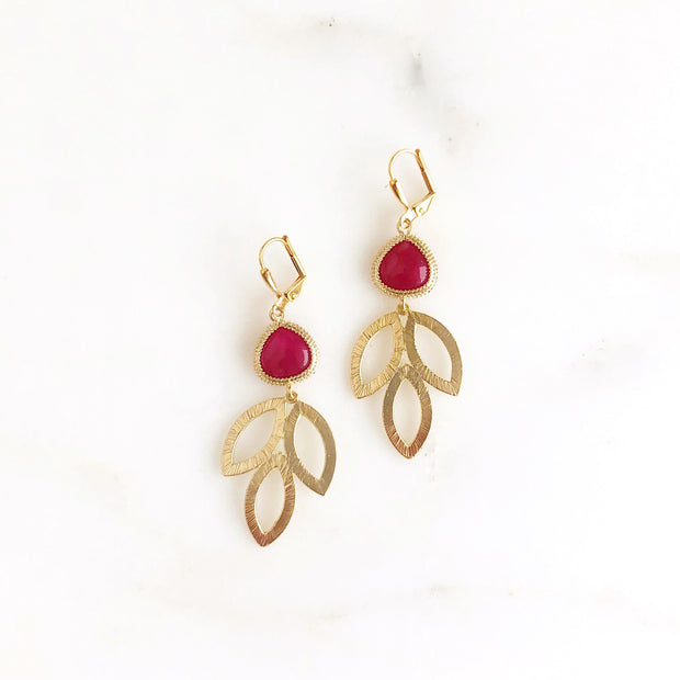 Gold Marquise And Fuschia Stone Dangle Earrings