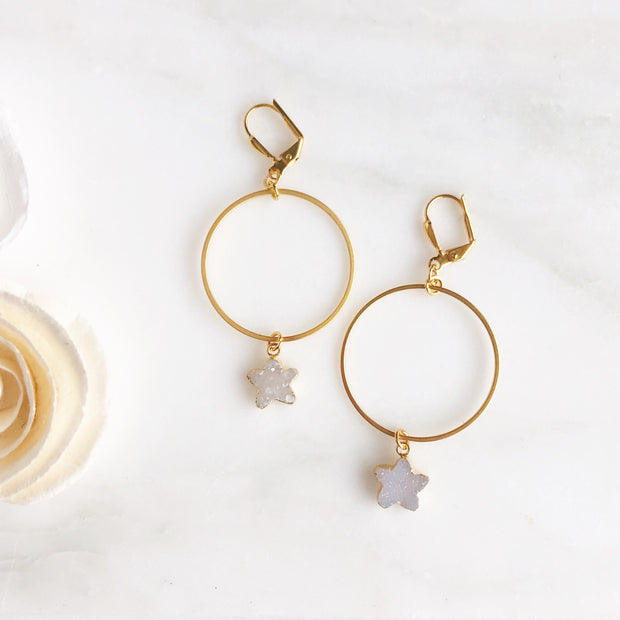 Star Druzy Hoop Earrings in Gold. Neutral Druzy Hoop Earrings. Dangle Earrings