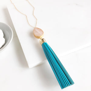 Blue Tassel Necklace with Rose Quartz in Gold. Long Tassel Necklace. Gold Jewelry. Gift for Her.