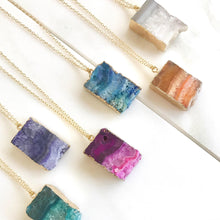 Load image into Gallery viewer, Druzy Quartz Necklace. Geode Necklace. Druzy Jewelry. Stone Necklace. Teal Aqua Gold Necklace. Chunky Necklace. Gift. Choose Stone Color.