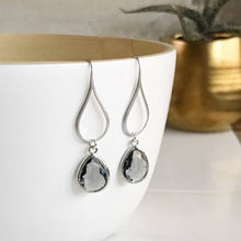 Load image into Gallery viewer, Silver Charcoal Drop Earrings. Charcoal Grey Teardrop Drop Earrings. Gift for Her. Dangle Earrings. Modern Drop Earrings. Christmas Gift.