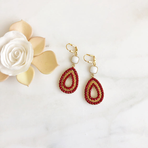 Wine Red and White Statement Earrings in Gold. Burgandy Statement Earrings. Chandelier Earrings.