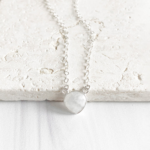 Moonstone Heart Necklace in Sterling Silver. Simple Dainty Gemstone Necklace in Silver